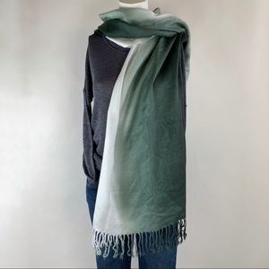 Pashmina Green and White Ombre  Cashmere/Silk Wrap